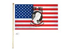 5' Wood Flag Pole Kit Wall Mount Bracket 3x5 Usa America Pow Mia Polyester Flag