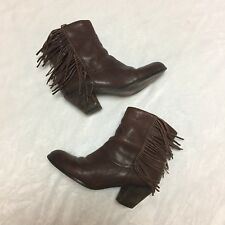 Sam Edelman Women's Fringe Louie Ankle Leather Booties Boots Size 8 M Brown