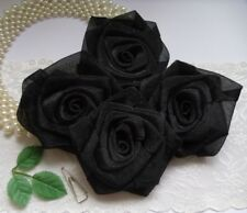 "3"" Black Organza Ribbon Rose Large Flowers / Appliques - Lots 10 Pcs (R0083B)"