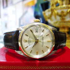 Mens ROLEX 1964 Oyster Perpetual Date 34mm Stainless Steel Gold Watch Ref: 1500