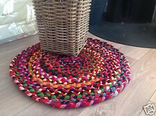 💜FAIR TRADE SHABBY CHIC BRAIDED RECYCLED FABRIC MULTI COLOUR ROUND RAG RUG 60cm