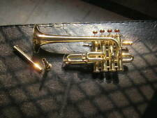 TRUMPET PICOLO IN GOLD POLISH MADE OF PURE BRASS METAL+CASE+MOUTHPC+FREE SHIPING