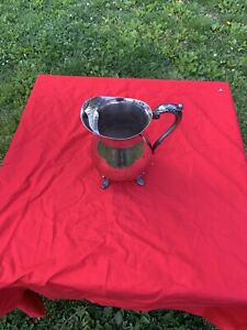 Vintage Towle Silverplate  Footed Water Pitcher With Ice Guard