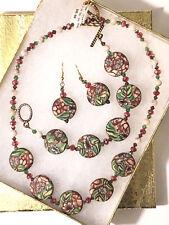 Red & Green Floral Art Clay, Gem, & Crystal Necklace, Bracelet, Earring Set, USA