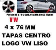 4 x TAPA PARA LLANTA VW DE 76mm EMBLEMA LOGO VOLKSWAGEN PLATEADO golf polo