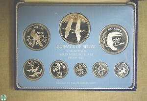 1979 BELIZE 1¢ TO $10 8-PC PROOF SET- ALL STERLING- ACTUAL SILVER WEIGHT: 3.0568