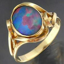 Vintage Solid 9k Yellow GOLD OPAL TRIPLET CABOCHON Ribbon Surrounds RING Sz N1/2