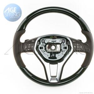Mercedes-Benz E350 E400 E550 Black Ash Wood Mocca Brown Leather Steering Wheel
