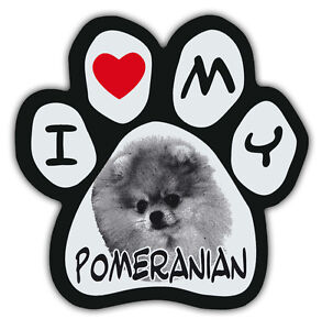 Picture Paws | Dog Paw Shaped Magnets: I LOVE MY POMERANIAN | Car Magnet