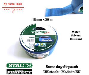 48mm x 50m Blue Paper Masking Tape Protection Water Solvent Resistant UV Stalco