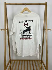 rVTG 90s Nautica Men's Downkill Skiing Competition Long Sleeve T-Shirt Size M