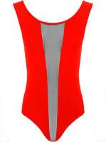 Women's Long  Cap Sleeve Mesh Insert Panel Sheer Black Bodysuit Sexy Leotard Top