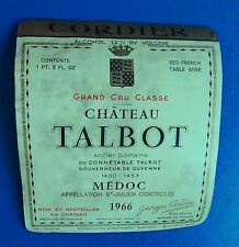 Wine Label 1966 Chateau Talbot Grand Cru Classe RARE Label #2