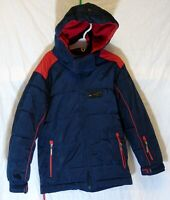 Boys AST Navy Blue Red Padded Hooded Warm Winter Ski Jacket Coat Age 6-7 Years