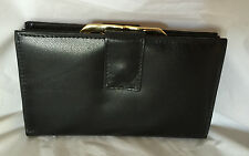 New ladies superior leather framed wallet clutch purse in Black