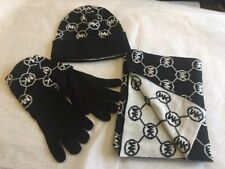 NEW MICHAEL KORS Connecting Circle MK Logo Scarf Hat Gloves 3 PC Set Gift Box