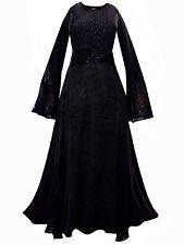 LONG BLACK MEDIEVAL PRINCESS DRESS 10 12 14 16 18 20 22 24 26 28 30 32 gothic