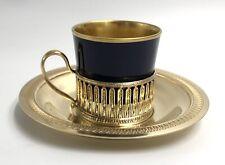 Superbe tasse café porcelaine LIMOGES Style Louis XVI monture métal doré Ep XXe