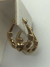 New 14k Yellow Gold Polished Irish Claddagh Hoop Earrings Irish Tradition