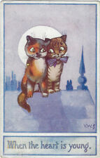 TUCK : WHEN THE HEART IS YOUNG-Kittens on a roof-STERNBERG - OILETTE 8839