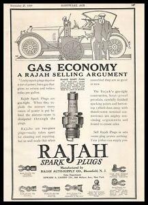 1919 Rajah Auto Supply Bloomfield New Jersey Giant Spark Plugs Vintage Print Ad