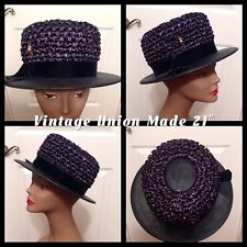 "Vintage Ladies Hat Union Made About 21"" Black Velvet Band Very Good Condition!"