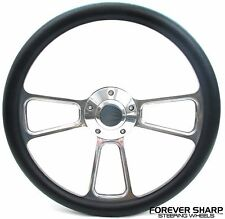 "Marine Billet Aluminum 14"" Black Vinyl Steering Wheel Set 3/4"" Boat Key Way Boss"
