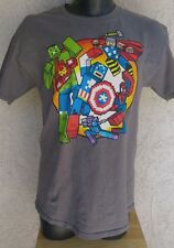 MARVEL AVENGERS BLOCKY CUBED DIGITAL GRAPHIC 100% COTTON GRAY TEE L SHORT SLEEVE