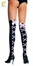 Black Stockings with Pink Crossbones & Bow Ladies Pirate Costume Fancy Dress New
