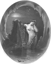 Erotica NAKED NUDE WOMAN HARP CAVE MAGICAL MUSIC ~ 1862 Art Print Engraving RARE