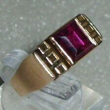 """Art Déco-Ring aus 585er Gold mit Rubin, Gr. 49, signiert """"es""""  (da0812)"""