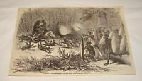 1876 magazine engraving ~ LION HUNTING With Kaffir Chief, Africa