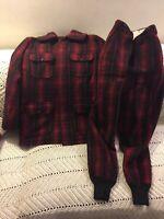 Vintage Woolrich Men's Wool Hunter's Red & Black Plaid Coat & Pants