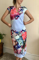 Brynee Ted Baker Pencil Midi Dress Pale Blue 3 Uk 12 Long Zip Fitted Floral