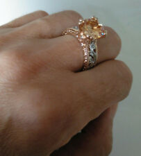 NEU Frauenring - Rosegold mit Silberornamenten - gelber Stein - Größe 7 (17.3mm)