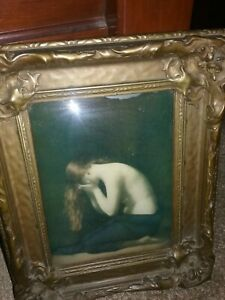 ANTIQUE ROYAL GOLD FRAME CONVEX MINIATURE ON GLASS CRYING WOMAN NAKED TO WASTE