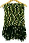 Handmade Crochet Knit Afghan Camouflage Fringe Throw Blanket 60 x 60