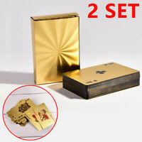 2 Set Waterproof Plastic Playing Cards Collection Gold Poker Cards Deck Game