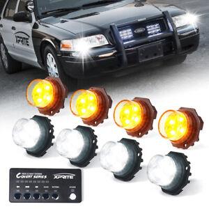 Xprite 8PCS Hideaway LED Strobe lights Headlight for 12V Trucks White/Yellow