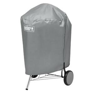Weber Charcoal BBQ Grill Safety Cover Kettle Style Water Resistant 22 Inch Gray