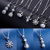 Fashion Women Zircon Crystal Cat Owl Angel Pendant Necklace Silver Chain Jewelry