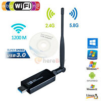 1200Mbps 2.4GHz/5.8GHz Dual Band 802.11ac Wireless USB 3.0 WIFI Adapter Antenna
