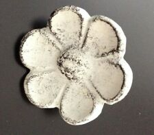 XL White Cast Iron Flower Knobs Drawer Pulls Closet Doors Distressed Shabby 1WC