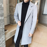 2019 New Mens Woolen Overcoats Jacket Casual Solid Color Casual Trench Coat