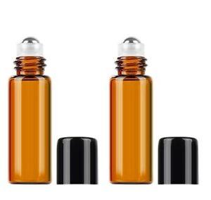 5 x Roll On Flasche / Deoroller leer 10ml, Braunglas Glas *Neu*