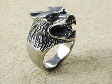 Ring Edelstahl Wolfskopf Bikerschmuck Herren Ring Gothic Mittelalter Kelten 3D