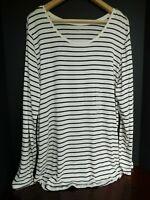 NWT Gap Women's Luxe Long Sleeve Cream/Black Striped Top XL 2XL New MSRP $35