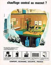 PUBLICITE ADVERTISING 084  1966  FRANCIA  chauffage  central & mazout