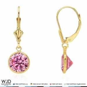 "14K Yellow Gold Bezel Round Pink Tourmaline Leverback Dangle Earrings 1"""