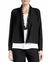 NWT Eileen Fisher Washable Stretch-Crepe Short Jacket black size M #CT958